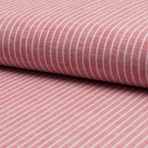 Tissu lin viscose à rayures rouge