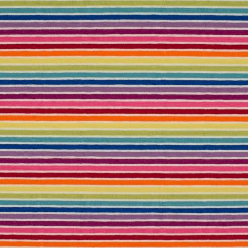 Tissu jersey coton rayures multicolores
