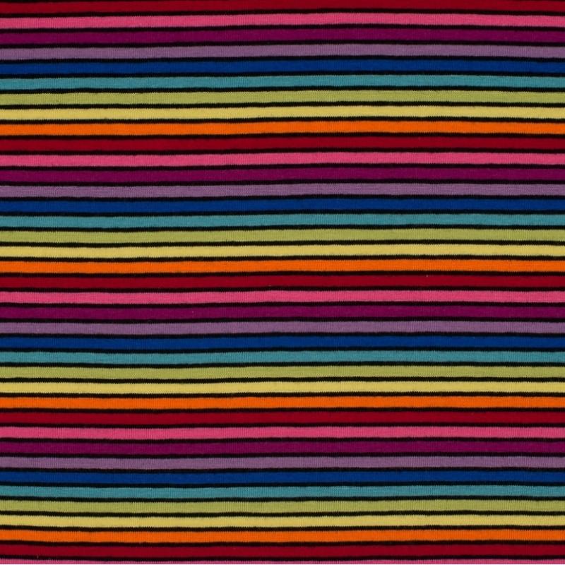 Tissu jersey coton rayures multicolores clair