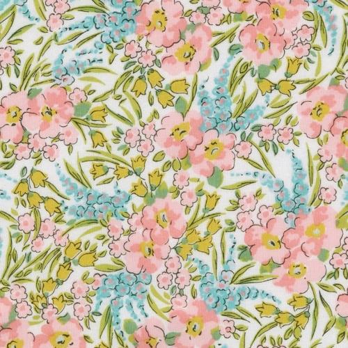 Liberty Swirling petals pastel rose bleu vert