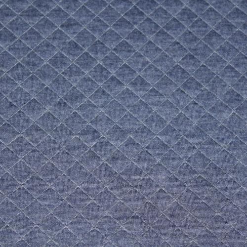Tissu matelassé jersey bleu jean chiné