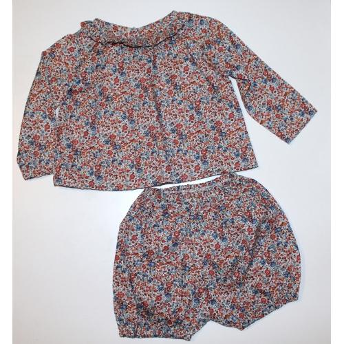 Ensemble blouse + bloomer Taille 12mois 74cm Liberty Emma and Georgina Noisette