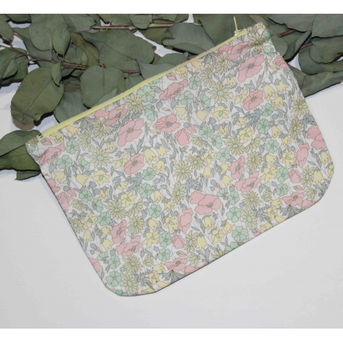 Trousse zippée en Liberty Poppy and daisy pastel