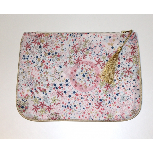 Trousse zippée en Liberty Adelajda rose