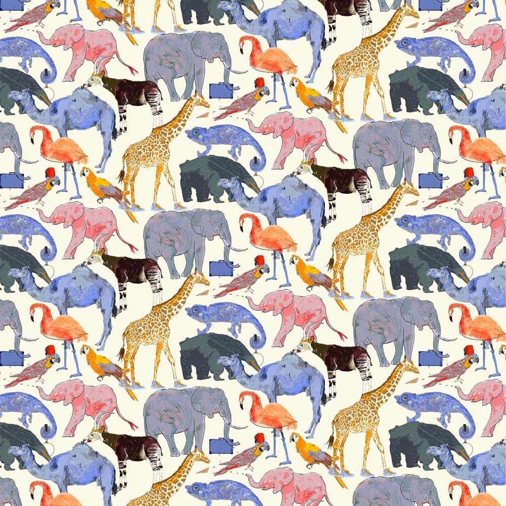Liberty queue for zoo ORANGE Tissus liberty fabrics au metre à la coupe