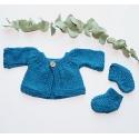 Ensemble gilet + chaussons tricotés main coloris Canard poupée