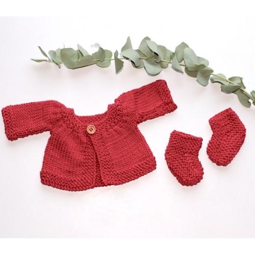 Ensemble GILET CHAUSSONS tricotés main coloris Canard poupée