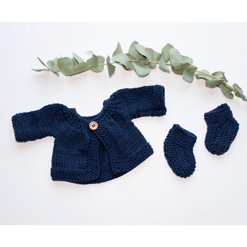 Ensemble gilet + chaussons tricotés main coloris POTIRON poupée