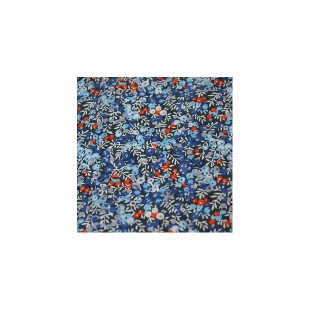Tissus liberty bleu marine Tissu liberty pas cher à la coupe au metre Liberty Wilmslow berry baies bleu gris rouge