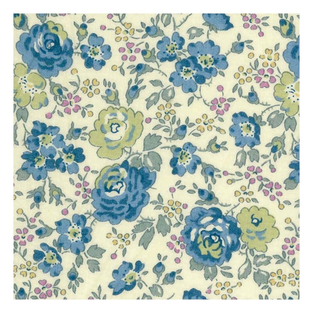 Liberty Felicite bleu gris vert B vintage Tissu liberty pas cher à la coupe au metre