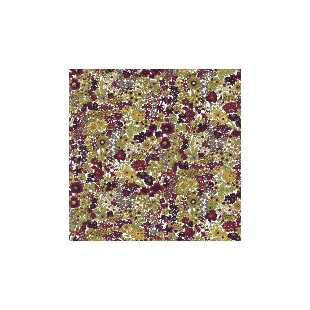Tissu liberty pas cher à la coupe au metre Liberty Margaret Annie coloris C aubergine vert