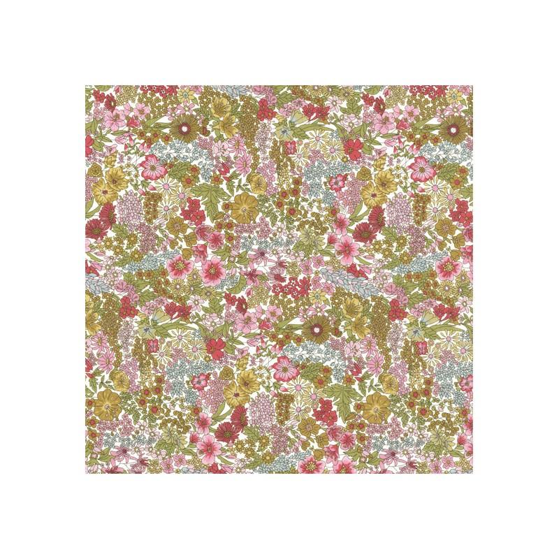 Tissu liberty pas cher à la coupe au metre Liberty Margaret Annie coloris D Kaki rose
