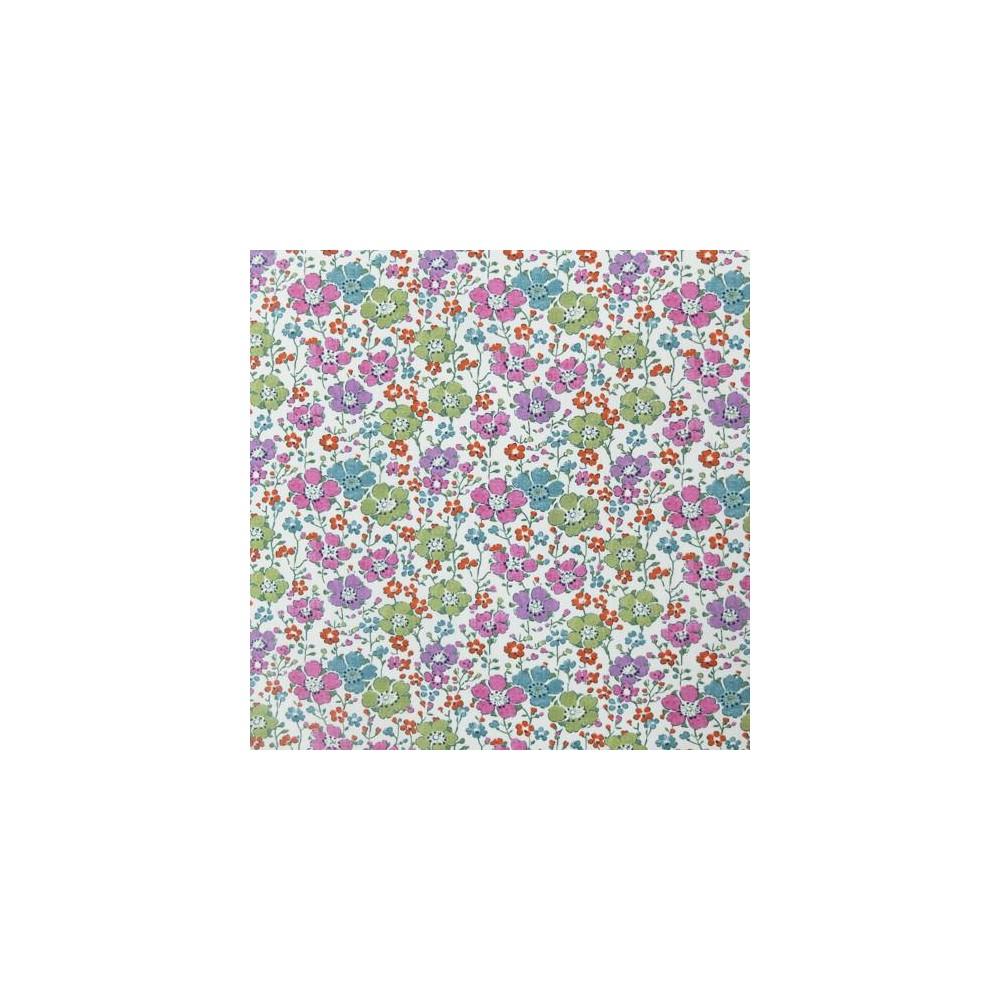 Tissu liberty pas cher à la coupe au metre Liberty Clarisse coloris A nuances de rose / vert / parme