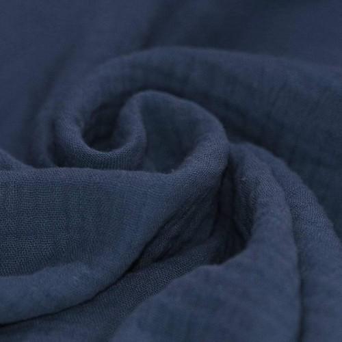 Double gaze de coton bleu ardoise