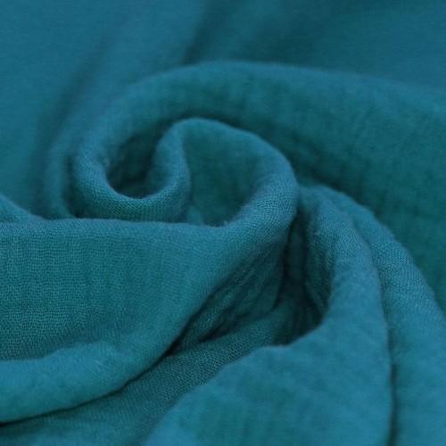 Double gaze de coton bleu canard