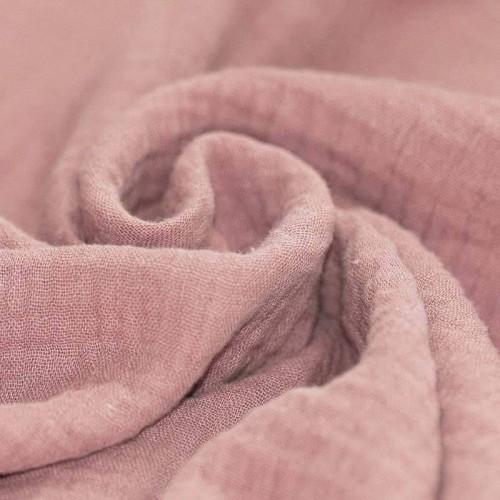 Tissus coton tissus uni Double gaze de coton vieux rose
