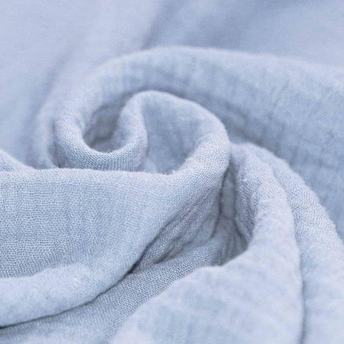 Double gaze de coton bleu poudré