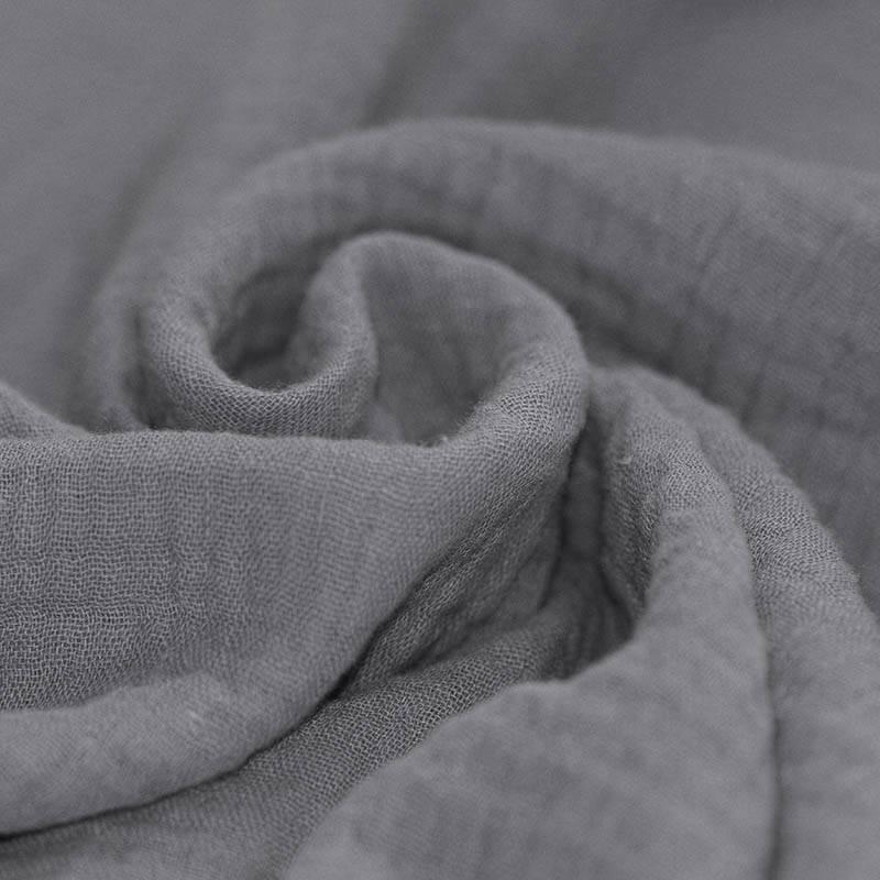 Tissus coton tissus uni Double gaze de coton gris souris