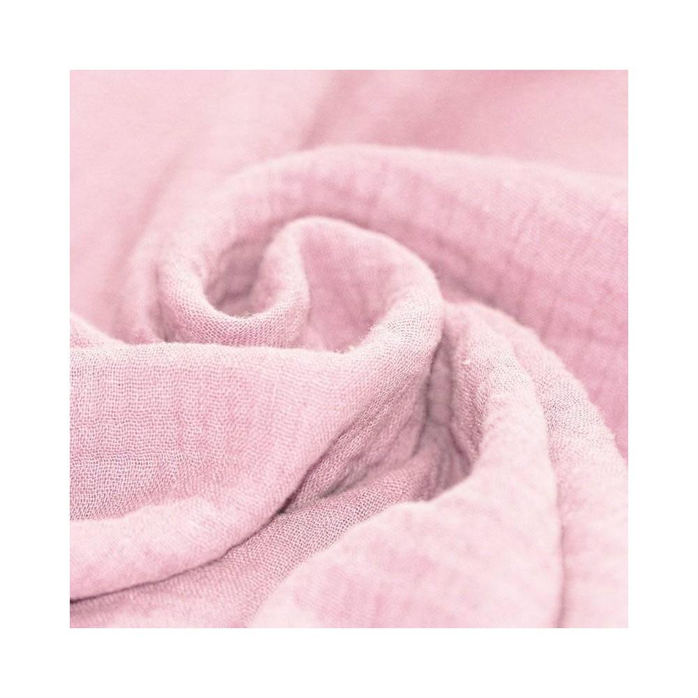 Tissus coton tissus uni Double gaze de coton rose dragée