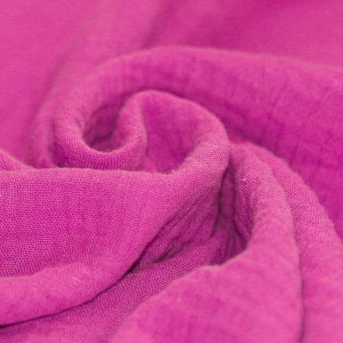 Double gaze de coton rose fushia