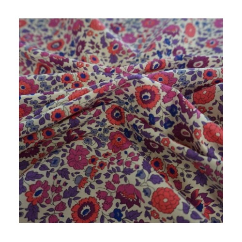 Liberty Danjo prune corailTissu liberty fabrics tana lawn coton batiste fine