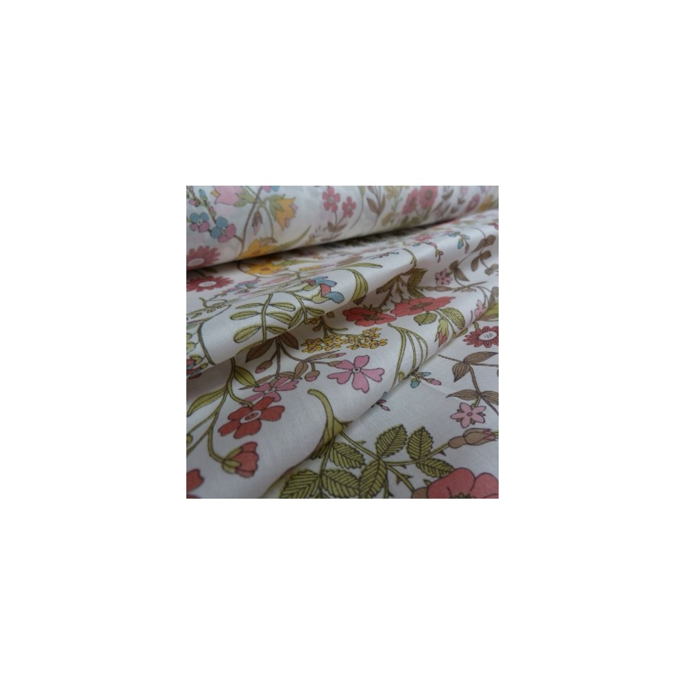 Tissu liberty fabrics tana lawn coton batiste fine Liberty Lola Weisselberg coloris clair rose, jaune, kaki