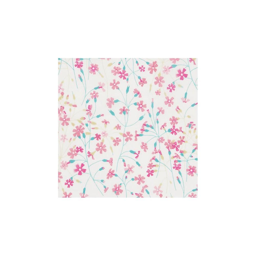 Liberty Suria petites fleurs rose / vert menthe Tissu liberty fabrics tana lawn coton batiste fine vert rose fond blanc