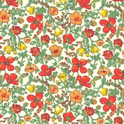 Tissu liberty fabrics tana lawn coton batiste fine Liberty meadow rouge orange vert