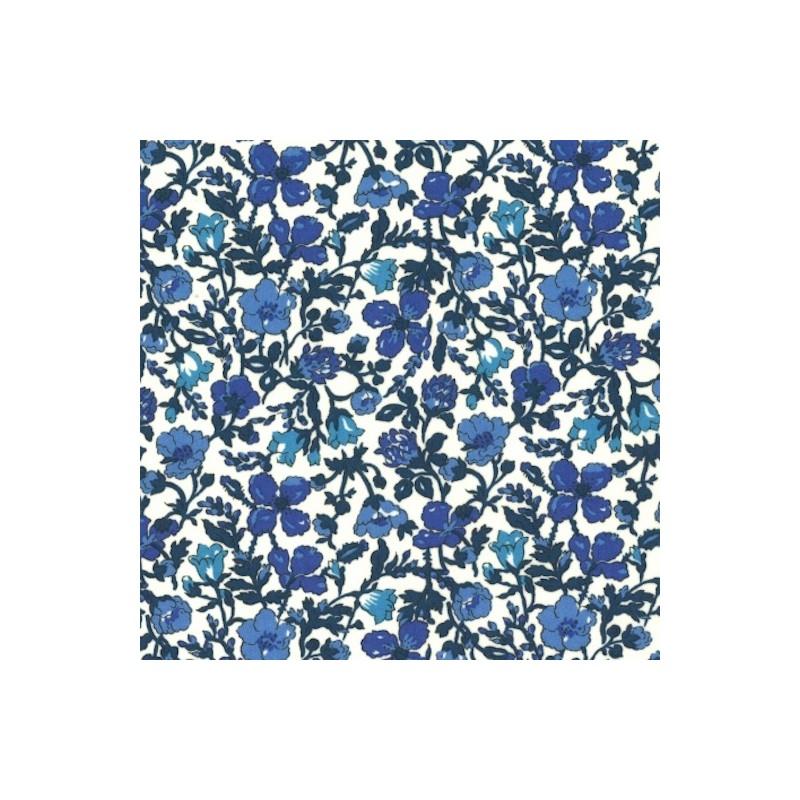 Tissu liberty fabrics tana lawn coton batiste fine Liberty meadow nuances de bleu foncé