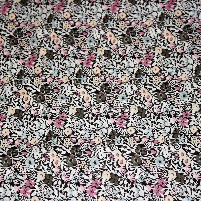 Tissu liberty pas cher à la coupe au metre taupe marron Liberty Fitzgerald coloris exclusif Bruyère