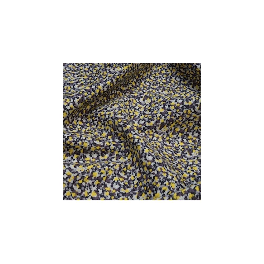 Tissu liberty fabrics tana lawn coton batiste fine jaune vert Liberty Pepper nuances de gris / jaune