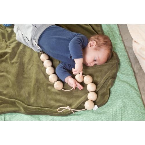 collier corde boule pour bébé mordre machouiller decouverte Waldorf Montessori jouet jeux libre bois naturel peinture cire huile