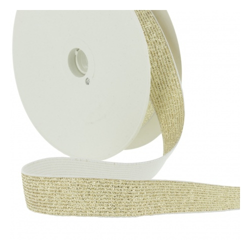 Elastique Lurex Or doré 20mm