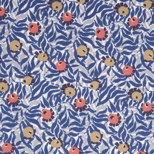 Coupon 32 cm Liberty Huckleberry coloris bleu, gris, jaune orange