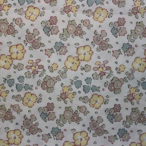 Tissu liberty fabrics tana lawn coton batiste fine fleurs Liberty Ella and Libby popeline coloris taupe jaune