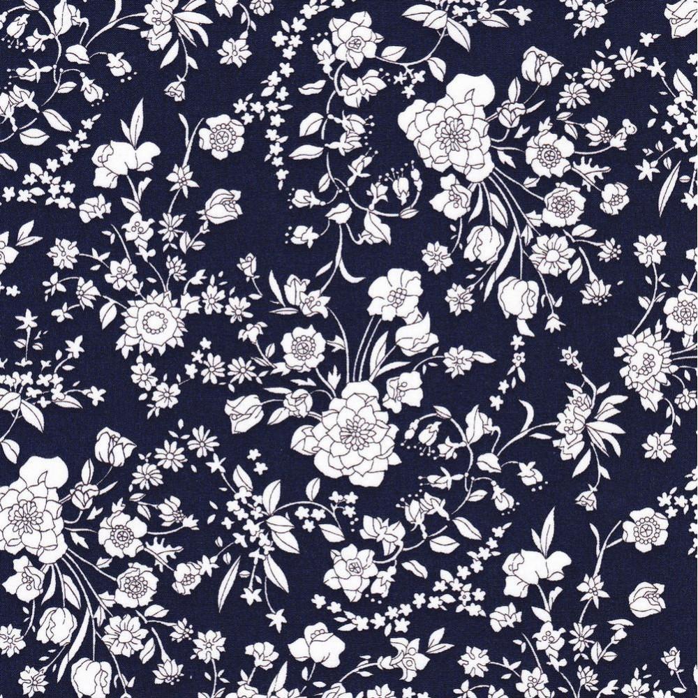 Tissus liberty fabrics au metre à la coupe Liberty Blooms bleu marine