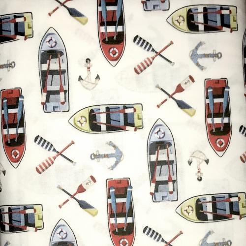 Tissu coton imprimé bateaux, rames etc...