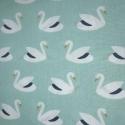 Tissu coton imprimé cygnes blancs sur fond mint