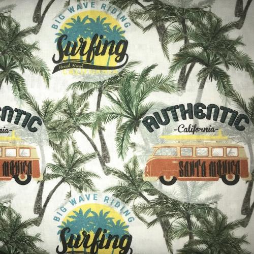 Tissu coton imprimé palmiers vacances