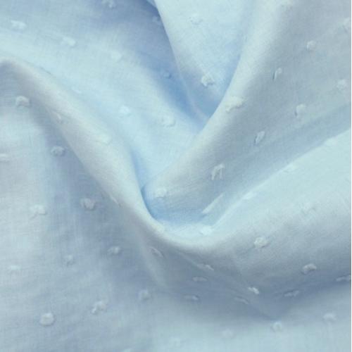 Plumetis de coton coloris bleu ciel