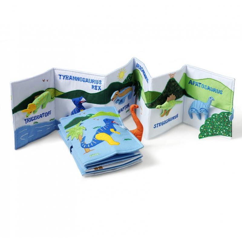 Livre des dinosaures en tissus fait main handemade jouet motricite dino jeu educatif