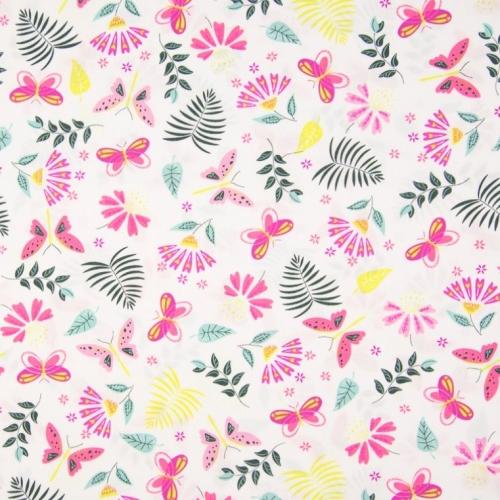 Tissu coton imprimé papillons, fleurs, feuilles exotiques