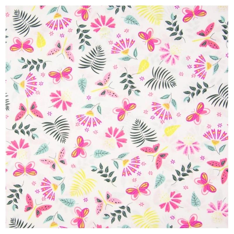 Tissu coton imprimé papillons, fleurs feuilles exotiques