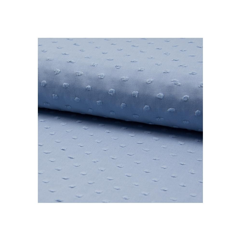 Plumetis de coton coloris bleu vénitien