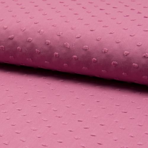Plumetis de coton coloris bois de rose