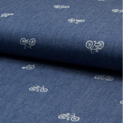 Chambray 100% coton motifs vélos / bicyclettes