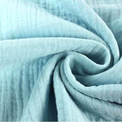 Double gaze de coton bleu lagon (turquoise clair)