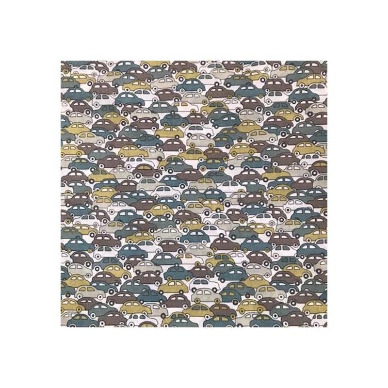 Tissu liberty fabrics tana lawn coton batiste fine Liberty japonais Cars taupe, moutarde